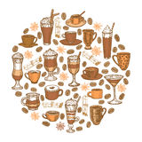 Vector hand drawn coffee beverages template Stock Images