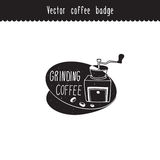 Vector hand drawn coffee brand design element. Grinding coffee label . Coffee sketches isolated on white. Royalty Free Stock Photo