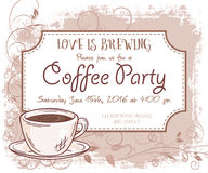 Vector hand drawn coffee party invitation card, vintage frame, cup and leaves.  Royalty Free Stock Image