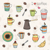 Vector hand drawn coffee set Stock Images