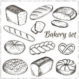 Vector Hand drawn collection of bakery. Stock Images