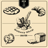Vector hand drawn collection of Bakery products. Template for poster business card banner label and icon for bakery shop and menu. Bakery hand sketched set in Stock Image