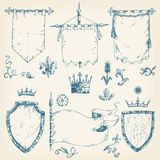 Vector hand drawn collection of heraldic templates: shield, flag Royalty Free Stock Photo