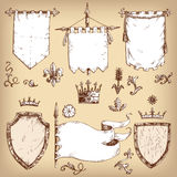 Vector hand drawn collection of heraldic templates: shield, flag. Standard, crown, plants. Sketchy engraving style. Isolated medieval set Royalty Free Stock Image