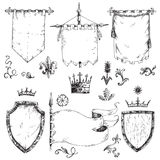 Vector hand drawn collection of heraldic templates: shield, flag. Standard, crown, plants. Sketchy engraving style.  medieval set Royalty Free Stock Image