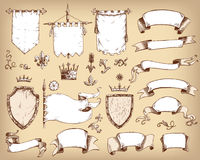Vector hand drawn collection of heraldic templates: shield, flag. Standard, ribbons, scrolls, crown, plants. Sketchy engraving style  medieval set Stock Photo