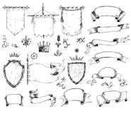 Vector hand drawn collection of heraldic templates: shield, flag Stock Photography