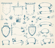 Vector hand drawn collection of heraldic templates: shield, flag. Standard, ribbons, scrolls, crown, plants. Sketchy engraving style Isolated medieval set Royalty Free Stock Image