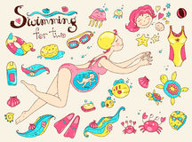 Vector hand drawn collection. Mom and baby. Swimming for pregnan Royalty Free Stock Images