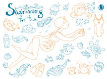 Vector hand drawn collection. Mom and baby. Swimming for pregnan Royalty Free Stock Photography