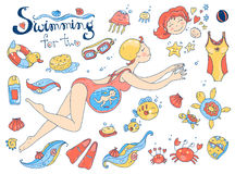 Vector hand drawn collection. Mom and baby. Swimming for pregnant Stock Photos