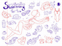 Vector hand drawn collection. Mom and baby. Swimming for pregnant Stock Photo