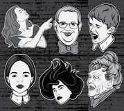 Vector hand drawn collection of portraits made in comics stylw Royalty Free Stock Image