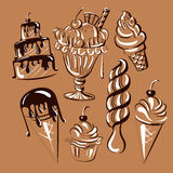 Vector hand drawn collection of sweet food with cakes and ice cream. Royalty Free Stock Photography