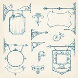Vector hand drawn collection of vintage signboards, bracket and. Decorations. Sketchy engraving style of illustration. Isolated old town set Royalty Free Stock Images