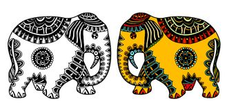 Decorated Indian Elephant. Vector hand-drawn color tattoo doodle with decorated Indian Elephant Stock Photography