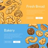 Vector hand drawn colored bakery elements web banner templates. Vector hand drawn colored bakery food elements web banner templates illustration Stock Photos