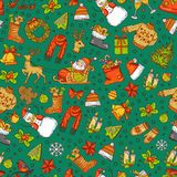 Vector hand drawn colored christmas elements with santa, xmas tree, gifts and bells pattern stock illustration
