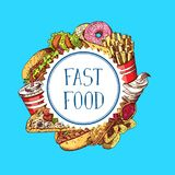 Vector hand drawn colored fast food elements gathered under circle illustration. Isolated on plain background Royalty Free Stock Photography