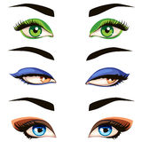 Vector hand drawn colored woman eyes Stock Photography
