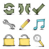 Vector hand drawn colorful icon set Royalty Free Stock Photography
