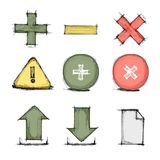 Vector hand drawn colorful icon set Stock Images