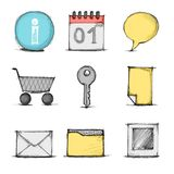 Vector hand drawn colorful icon set Royalty Free Stock Photo
