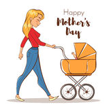 Vector hand drawn colorful illustration of happy mother with a baby Stock Photography