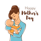 Vector hand drawn colorful illustration of happy mother with a newborn baby. Stock Photos