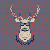 Vector hand drawn colorful illustration of hipster deer with mustaches. And glasses Royalty Free Stock Photo