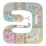 Vector hand drawn colorful illustration of isolated snake with decorative geometrical elements, lines, dots. Picture for coloring. Line drawing. Graphic stock illustration