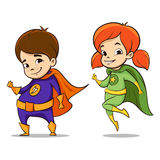 Vector hand drawn colorful illustration of two happy super hero kid Royalty Free Stock Image