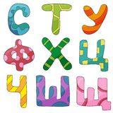 Vector hand drawn colorful russian cyrillic alphabet on white background. Doodle font. Children abc royalty free illustration