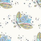Vector hand drawn colorful seamless pattern, illustration of butterfly with decorative geometrical elements, lines, dots. Line. Drawing. Graphic artistic design royalty free illustration