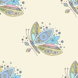 Vector hand drawn colorful seamless pattern, illustration of butterfly with decorative geometrical elements, lines, dots. Line. Drawing. Graphic artistic design vector illustration