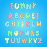 Vector of hand drawn colorful stylized funny alphabet. Hand drawn vector Funny alphabet on white background in cartoon style. Cute colorful modern font for kids royalty free illustration