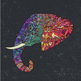 Vector hand drawn colorful tribal ornate decorated elephant illustration Stock Image