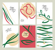 Vector hand drawn congratulation cards. Stock Photography