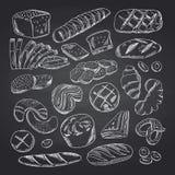 Vector hand drawn contoured bakery elements on black chalkboard. Bakery chalkboard sketch, doodle chalk drawing illustration royalty free illustration