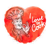 Vector hand drawn cook, chef sketch and cooking, cuisine doodle Stock Images