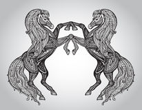 Vector hand drawn couple of horses in graphic ornamental style Stock Photo