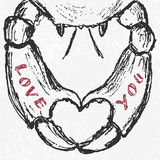 Vector hand drawn crab with heart shaped claws and love. Stock Image