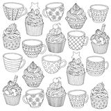 Vector hand drawn cup cupcake illustration for adult coloring book. Freehand sketch for adult anti stress coloring book Royalty Free Stock Image