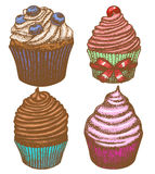 Vector hand-drawn cupcake set Royalty Free Stock Images