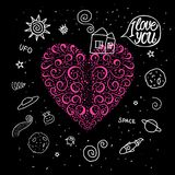 Vector hand drawn heart curls in space theme. Doodle Sweet home and around space universe. Vector hand drawn curls heart in space theme. Doodle Sweet home and Stock Images