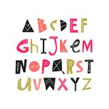 Vector hand drawn cut out color font, letters set. ABC, alphabet. Clipart, isolated vector letters and decor elements royalty free illustration