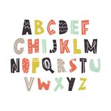 Vector hand drawn cut out color font, letters set. ABC, alphabet. Clipart, isolated vector letters and decor elements vector illustration