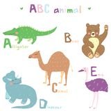 Vector hand drawn cute abc alphabet animal scandinavian colorful design, flamingo, giraffe, hippopotamusl, ibis, jaguar. Vector hand drawn cute abc alphabet vector illustration