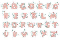 Vector hand-drawn cute alphabet with floral decoration, font, letters. 3D doodle ABC for kids. Vector hand-drawn cute alphabet with floral decoration. 3D doodle stock illustration