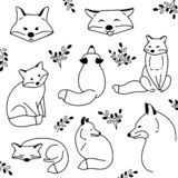Vector hand drawn cute animal set. Sketch illustration with sitting, funny and sleeping foxes. Collection of doodle cartoon royalty free illustration